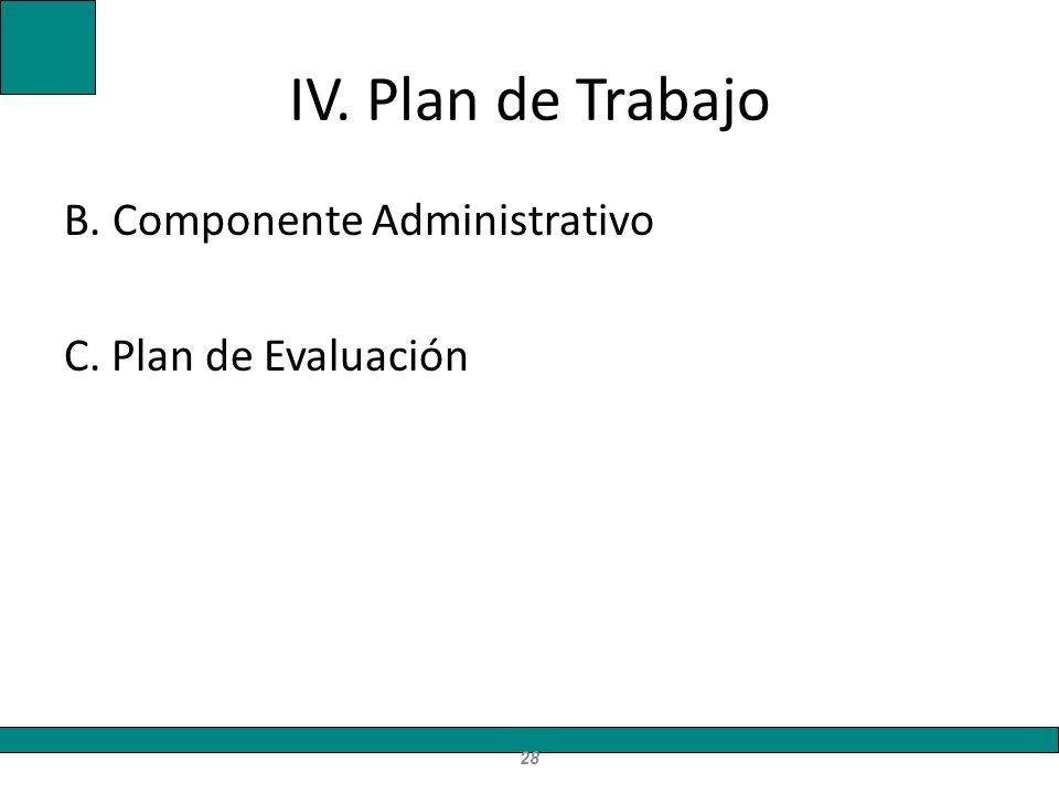 IV. Plan de Trabajo B. Componente Administrativo C. Plan de Evaluación 28