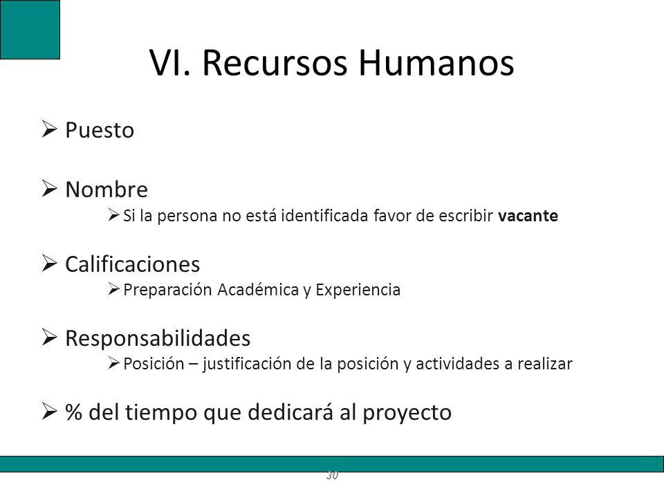 VI. Recursos Humanos Puesto Nombre Si la persona no está identificada favor de escribir vacante Calificaciones Preparación Académica y Experiencia Res