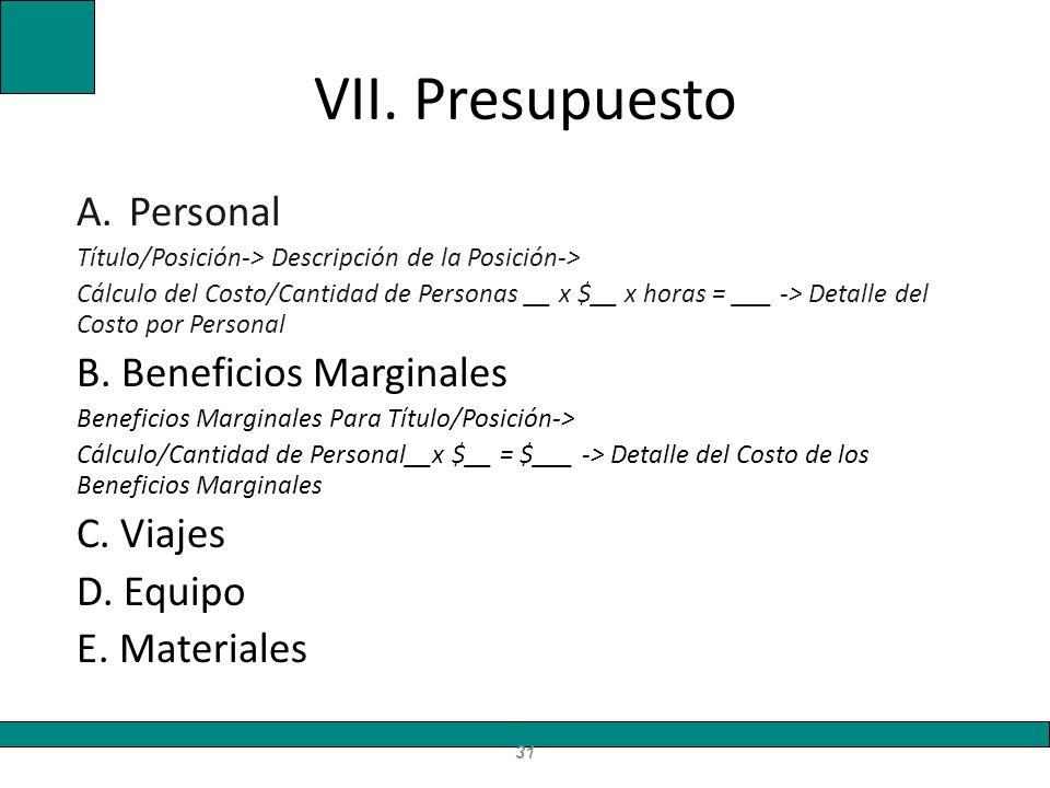 VII. Presupuesto A.Personal Título/Posición-> Descripción de la Posición-> Cálculo del Costo/Cantidad de Personas __ x $__ x horas = ___ -> Detalle de