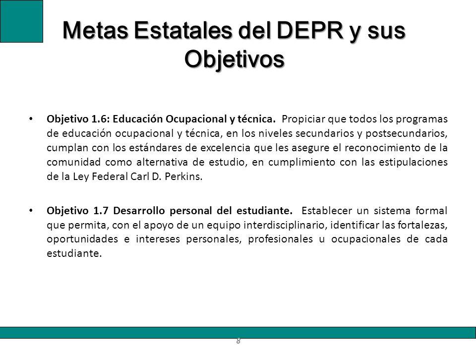 Objetivo 1.6: Educación Ocupacional y técnica. Propiciar que todos los programas de educación ocupacional y técnica, en los niveles secundarios y post