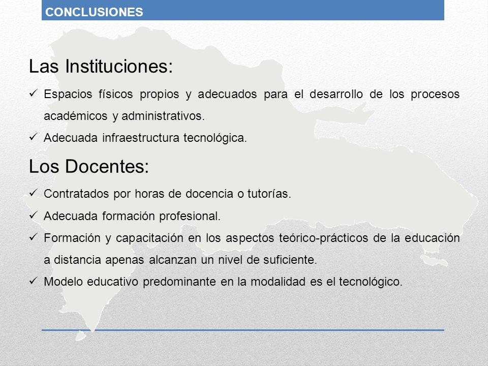 Las Instituciones: Espacios físicos propios y adecuados para el desarrollo de los procesos académicos y administrativos. Adecuada infraestructura tecn