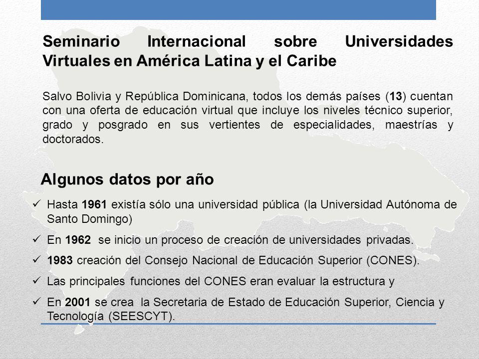 Seminario Internacional sobre Universidades Virtuales en América Latina y el Caribe Salvo Bolivia y República Dominicana, todos los demás países (13)