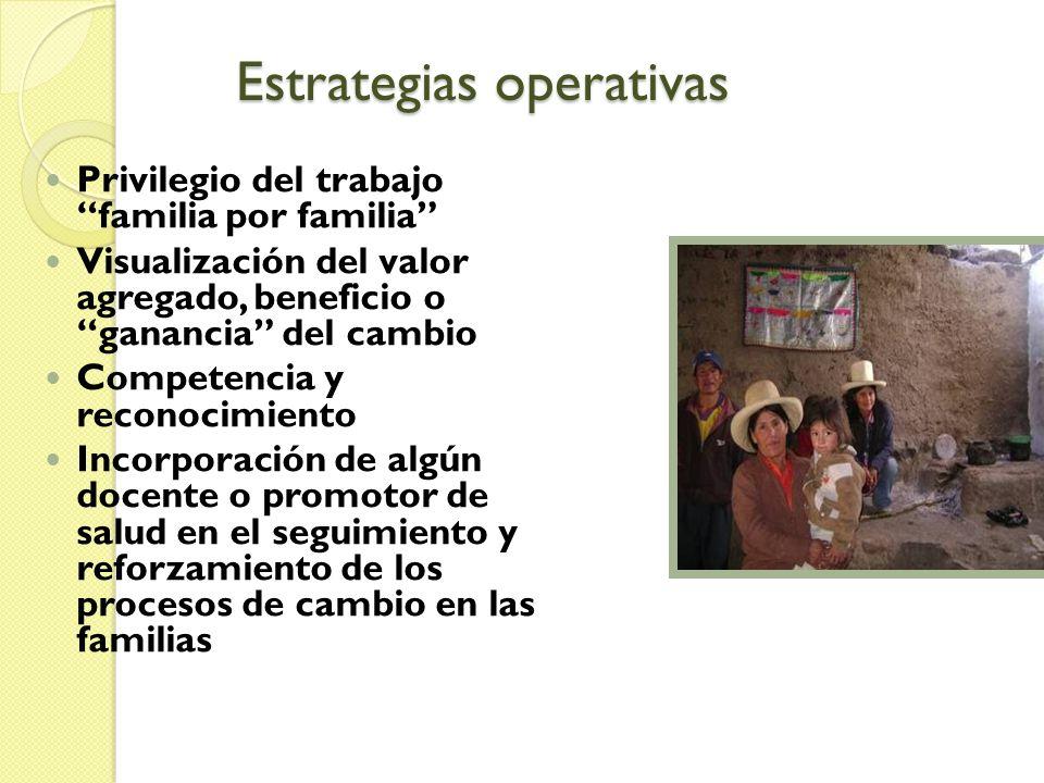 Estrategias operativas Privilegio del trabajo familia por familia Visualización del valor agregado, beneficio o ganancia del cambio Competencia y reco