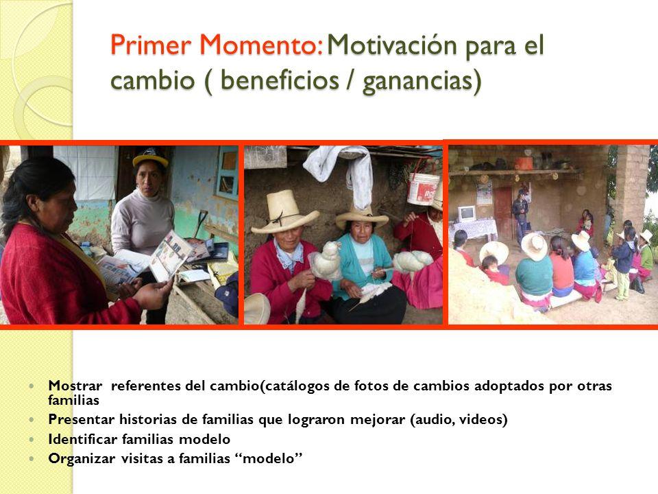 Primer Momento: Motivación para el cambio ( beneficios / ganancias) Mostrar referentes del cambio(catálogos de fotos de cambios adoptados por otras fa