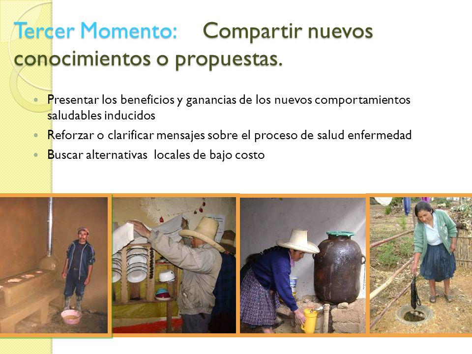 Tercer Momento:Compartir nuevos conocimientos o propuestas. Presentar los beneficios y ganancias de los nuevos comportamientos saludables inducidos Re