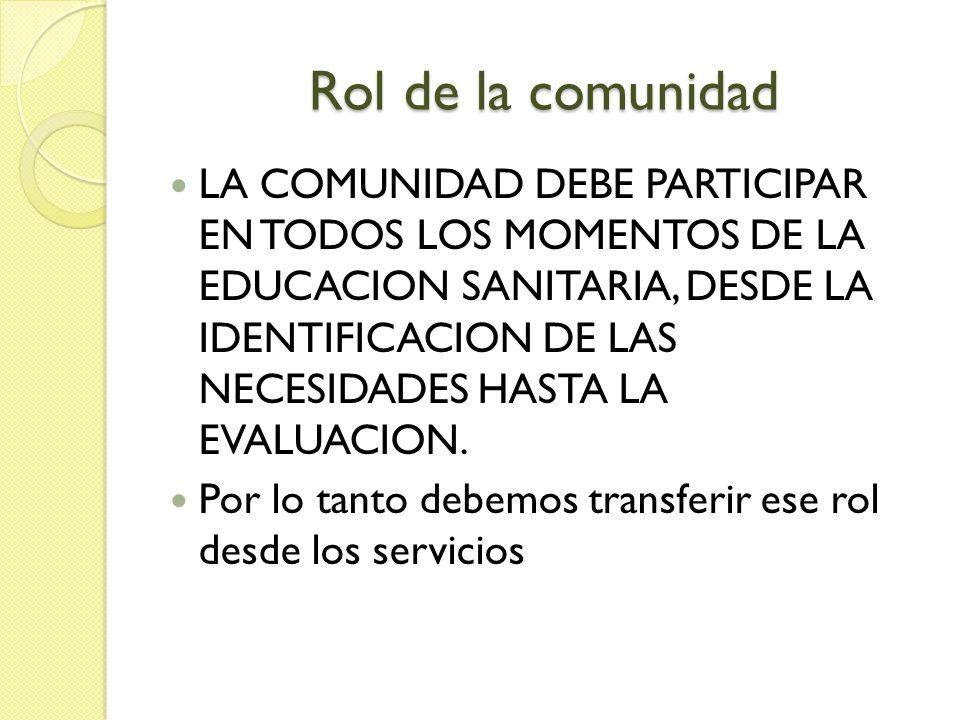 Rol de la comunidad LA COMUNIDAD DEBE PARTICIPAR EN TODOS LOS MOMENTOS DE LA EDUCACION SANITARIA, DESDE LA IDENTIFICACION DE LAS NECESIDADES HASTA LA EVALUACION.