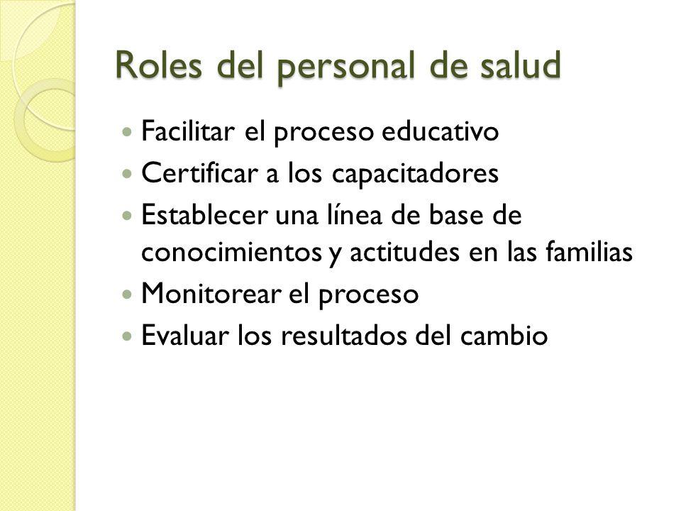 Roles del personal de salud Facilitar el proceso educativo Certificar a los capacitadores Establecer una línea de base de conocimientos y actitudes en