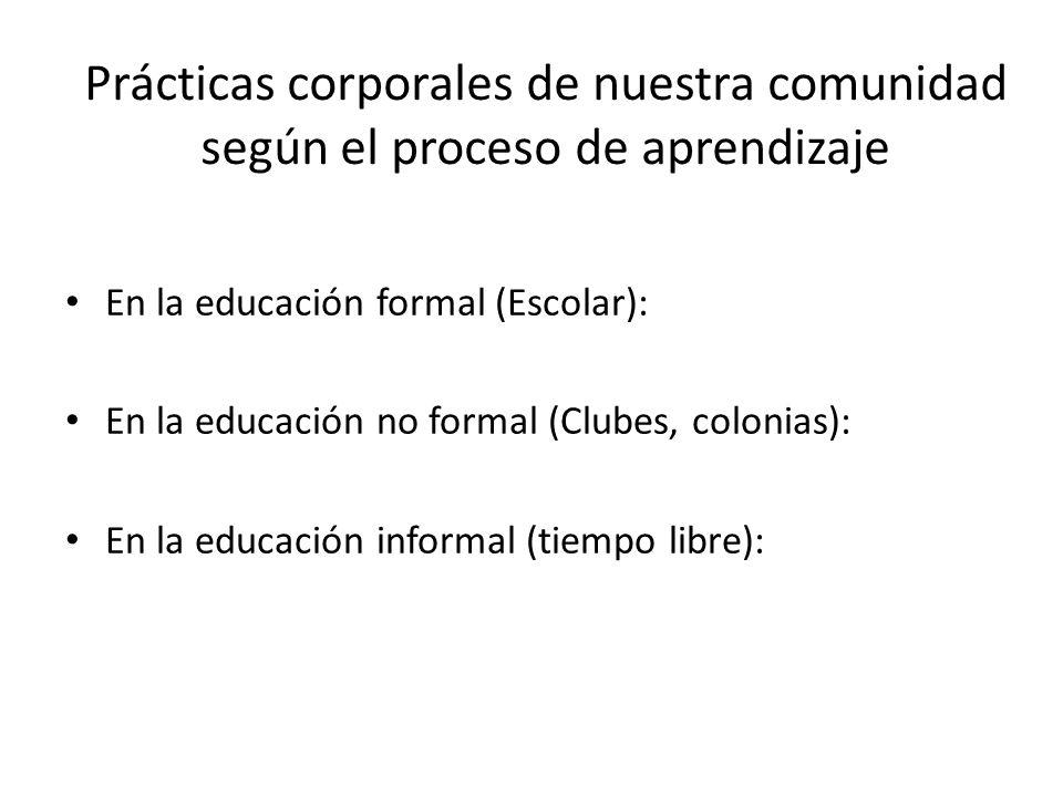 Prácticas corporales de nuestra comunidad según el proceso de aprendizaje En la educación formal (Escolar): En la educación no formal (Clubes, colonia