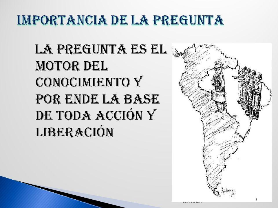 La pregunta es el motor del conocimiento y por ende la base de toda acción y liberación PEDAGOGIA