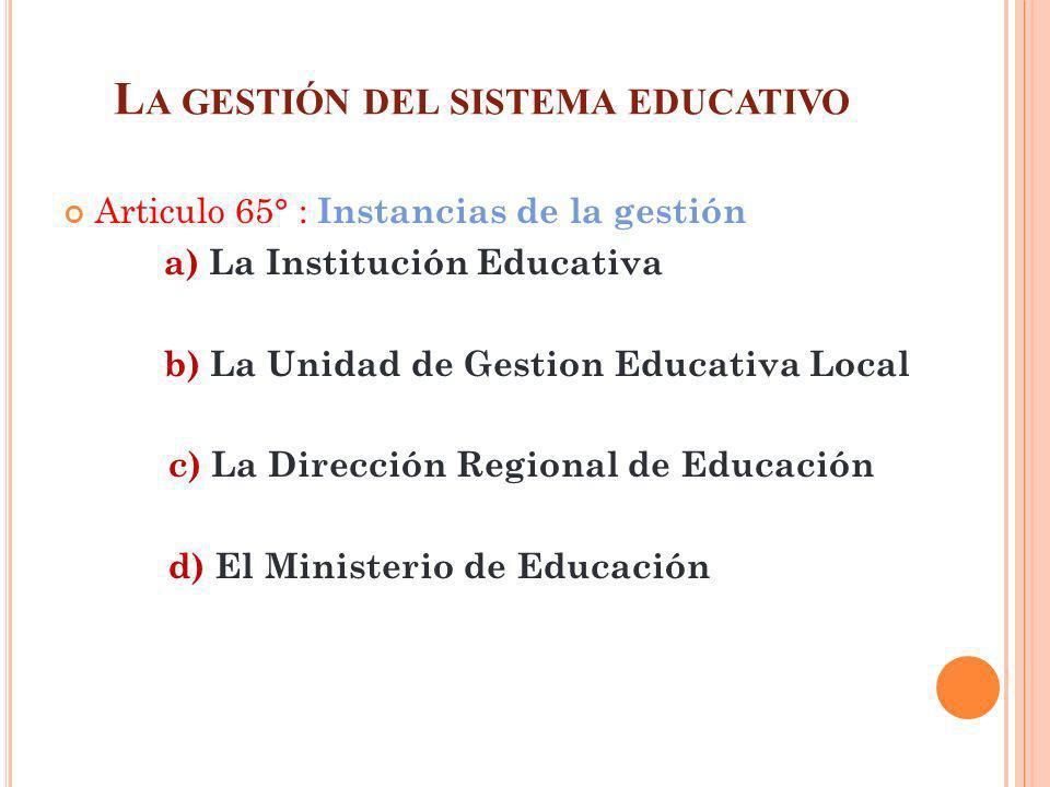 L A GESTIÓN DEL SISTEMA EDUCATIVO Articulo 65° : Instancias de la gestión a) La Institución Educativa b) La Unidad de Gestion Educativa Local c) La Di