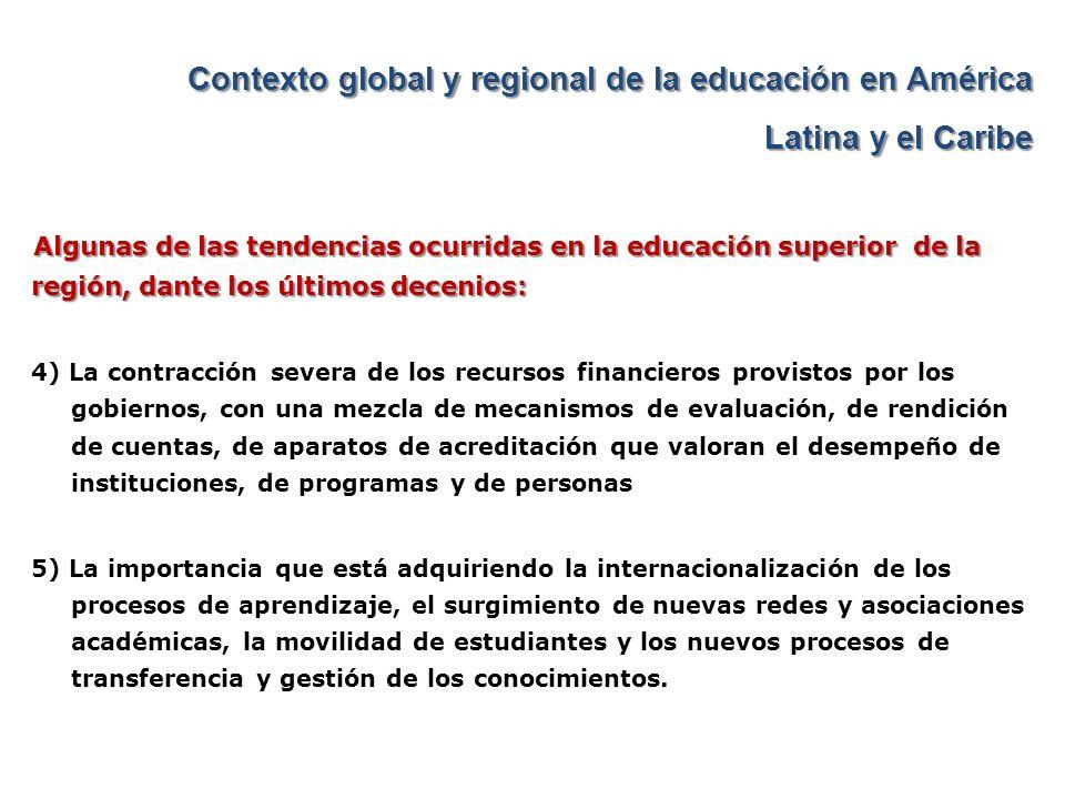 Contexto global y regional de la educación en América Latina y el Caribe Algunas de las tendencias ocurridas en la educación superior de la región, da
