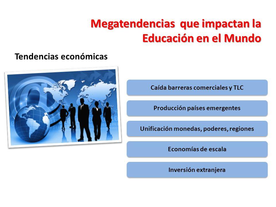 Tendencias económicas Megatendencias que impactan la Educación en el Mundo Caída barreras comerciales y TLC Producción países emergentes Unificación m