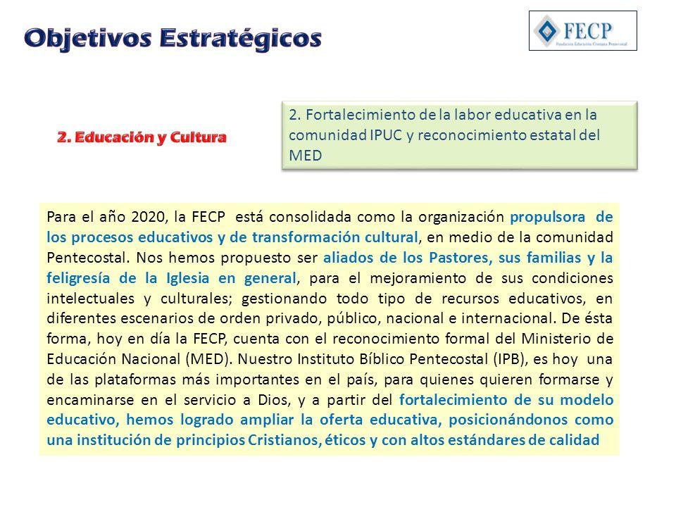 Para el año 2020, la FECP está consolidada como la organización propulsora de los procesos educativos y de transformación cultural, en medio de la com
