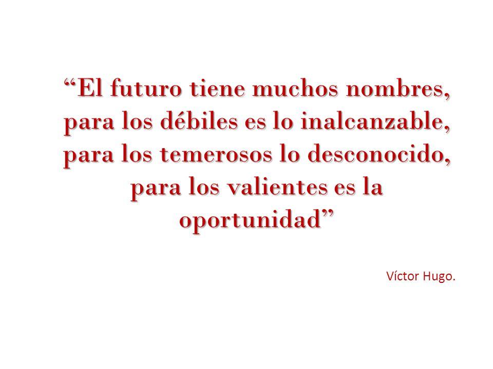 El futuro tiene muchos nombres, para los débiles es lo inalcanzable, para los temerosos lo desconocido, para los valientes es la oportunidad Víctor Hu