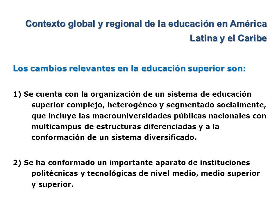 Contexto global y regional de la educación en América Latina y el Caribe Los cambios relevantes en la educación superior son: 1) Se cuenta con la orga