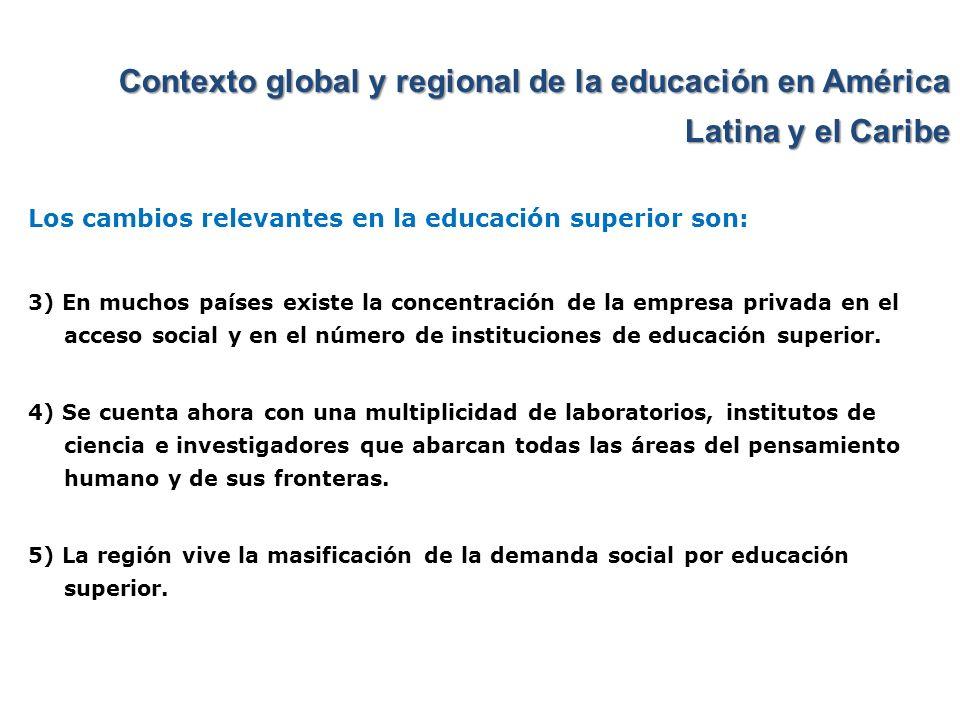 Contexto global y regional de la educación en América Latina y el Caribe Los cambios relevantes en la educación superior son: 3) En muchos países exis