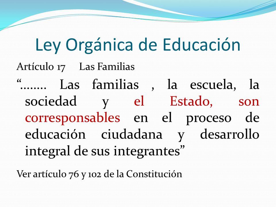 Ley Orgánica de Educación Artículo 17 Las Familias …….. Las familias, la escuela, la sociedad y el Estado, son corresponsables en el proceso de educac
