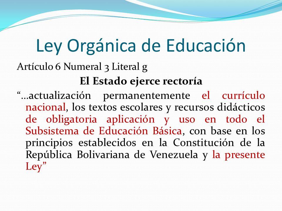 Ley Orgánica de Educación Artículo 6 Numeral 3 Literal g El Estado ejerce rectoría …actualización permanentemente el currículo nacional, los textos es