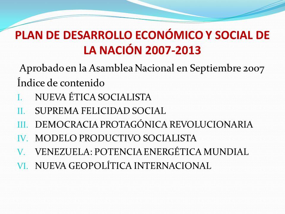PLAN DE DESARROLLO ECONÓMICO Y SOCIAL DE LA NACIÓN 2007-2013 Aprobado en la Asamblea Nacional en Septiembre 2007 Índice de contenido I. NUEVA ÉTICA SO