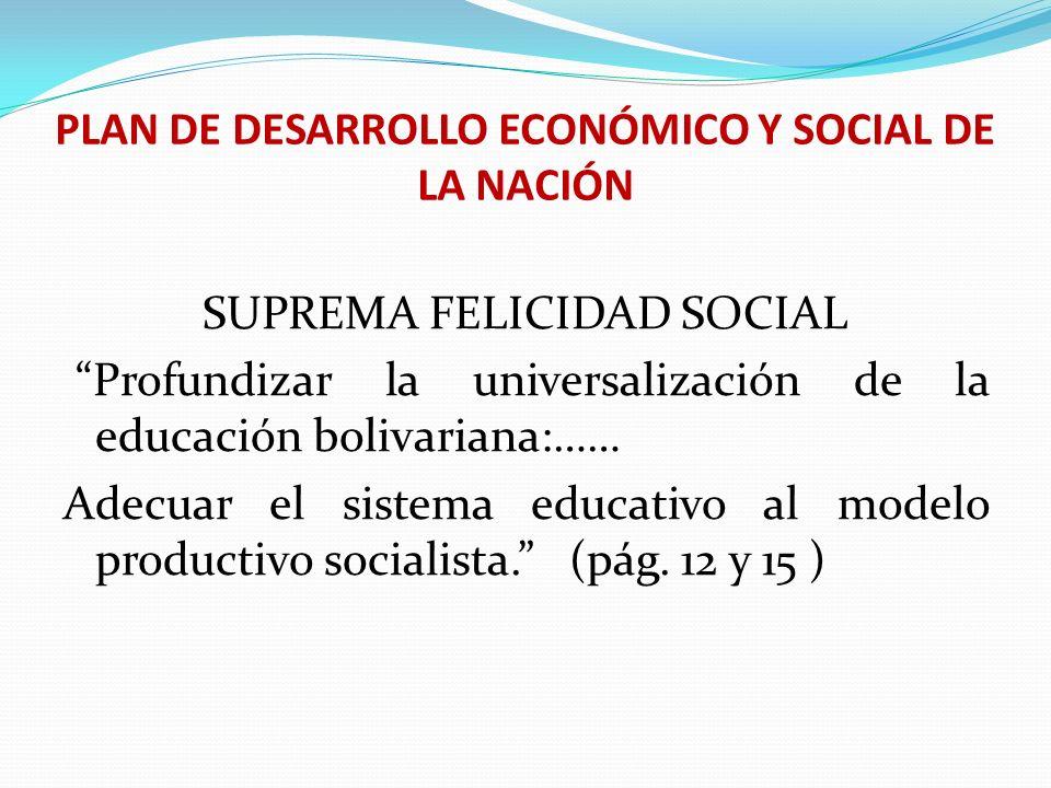 PLAN DE DESARROLLO ECONÓMICO Y SOCIAL DE LA NACIÓN SUPREMA FELICIDAD SOCIAL Profundizar la universalización de la educación bolivariana:…… Adecuar el