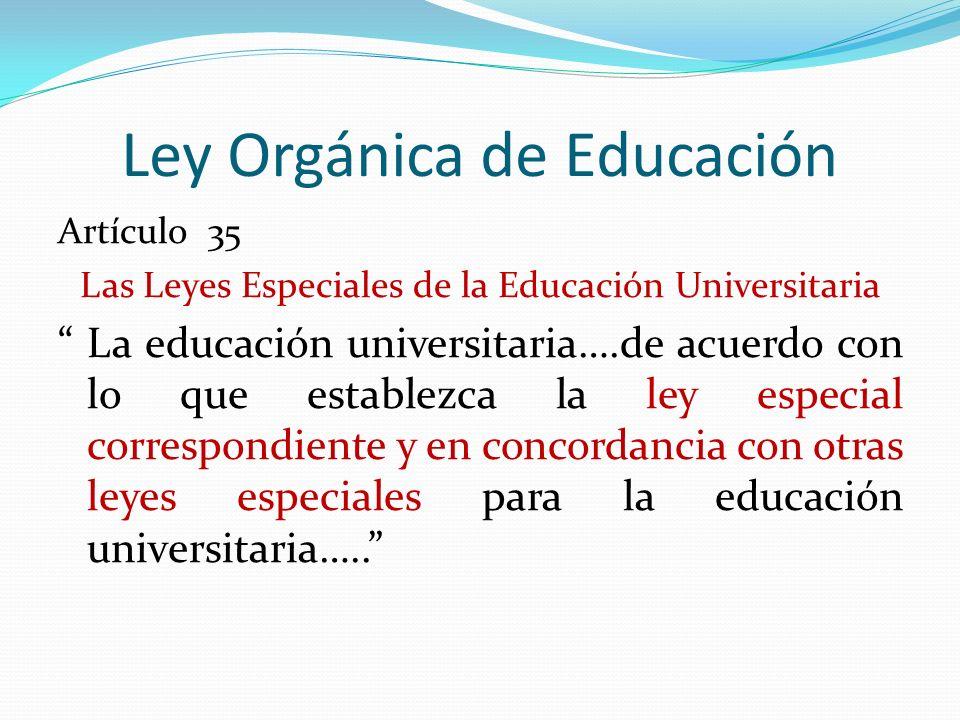 Ley Orgánica de Educación Artículo 35 Las Leyes Especiales de la Educación Universitaria La educación universitaria….de acuerdo con lo que establezca