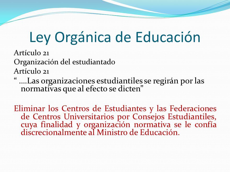 Ley Orgánica de Educación Artículo 21 Organización del estudiantado Artículo 21 ….Las organizaciones estudiantiles se regirán por las normativas que a