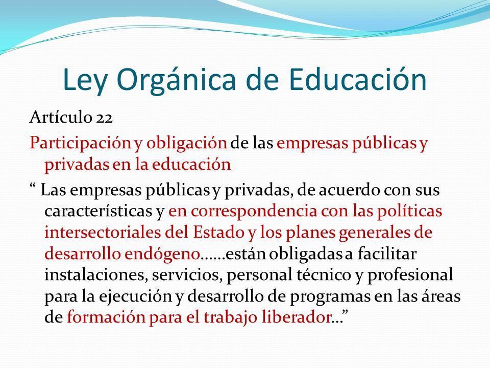 Ley Orgánica de Educación Artículo 22 Participación y obligación de las empresas públicas y privadas en la educación Las empresas públicas y privadas,