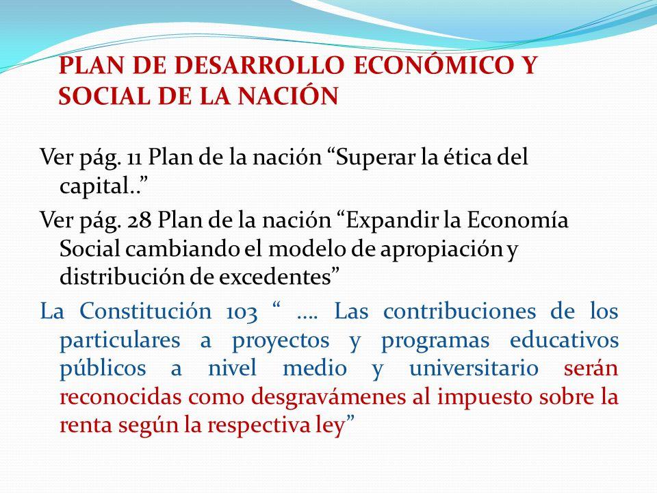 Ver pág. 11 Plan de la nación Superar la ética del capital.. Ver pág. 28 Plan de la nación Expandir la Economía Social cambiando el modelo de apropiac