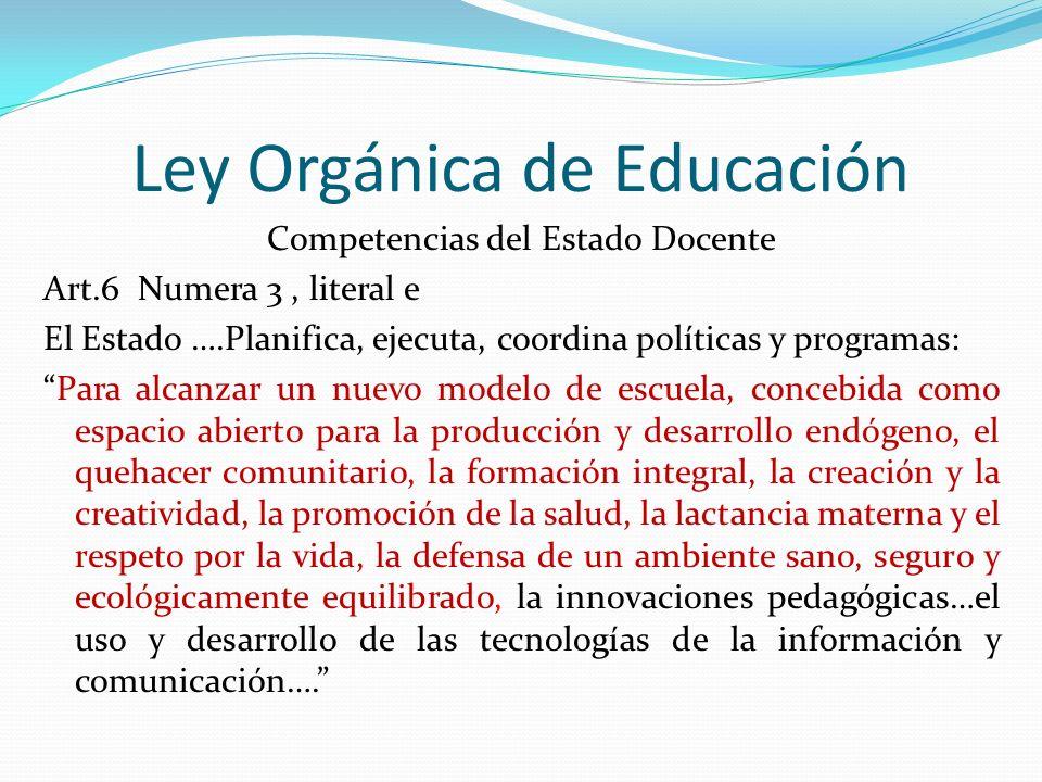 Ley Orgánica de Educación Competencias del Estado Docente Art.6 Numera 3, literal e El Estado ….Planifica, ejecuta, coordina políticas y programas: Pa