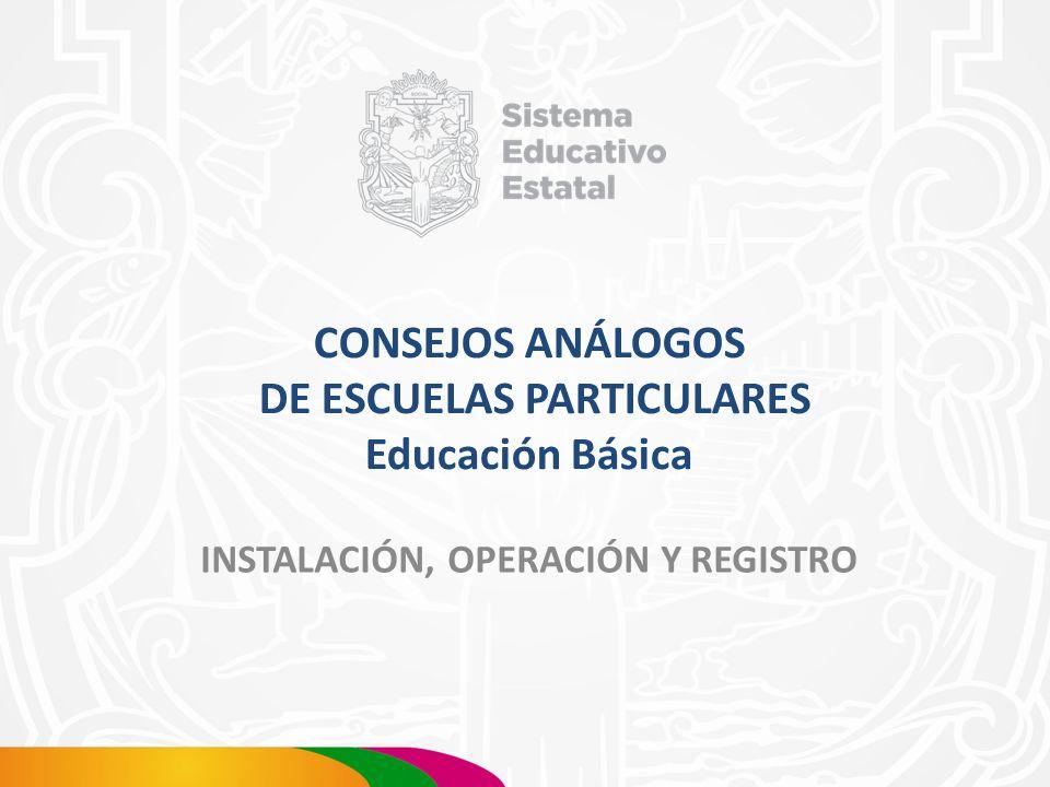 CONSEJOS ANÁLOGOS DE ESCUELAS PARTICULARES Educación Básica INSTALACIÓN, OPERACIÓN Y REGISTRO