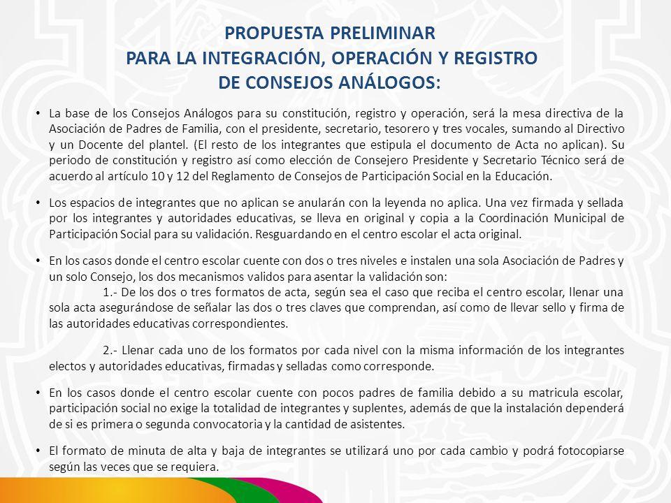 PROPUESTA PRELIMINAR PARA LA INTEGRACIÓN, OPERACIÓN Y REGISTRO DE CONSEJOS ANÁLOGOS: La base de los Consejos Análogos para su constitución, registro y