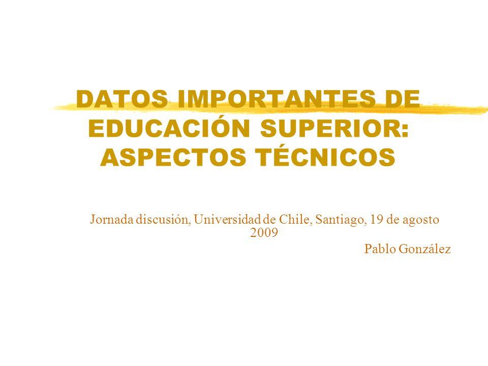 DATOS IMPORTANTES DE EDUCACIÓN SUPERIOR: ASPECTOS TÉCNICOS Jornada discusión, Universidad de Chile, Santiago, 19 de agosto 2009 Pablo González