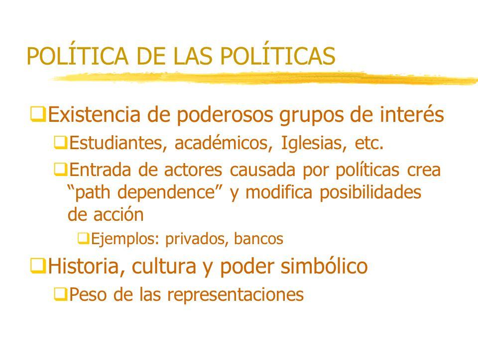 POLÍTICA DE LAS POLÍTICAS Existencia de poderosos grupos de interés Estudiantes, académicos, Iglesias, etc. Entrada de actores causada por políticas c