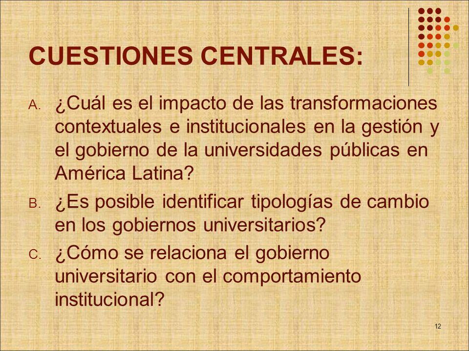CUESTIONES CENTRALES: A. ¿Cuál es el impacto de las transformaciones contextuales e institucionales en la gestión y el gobierno de la universidades pú