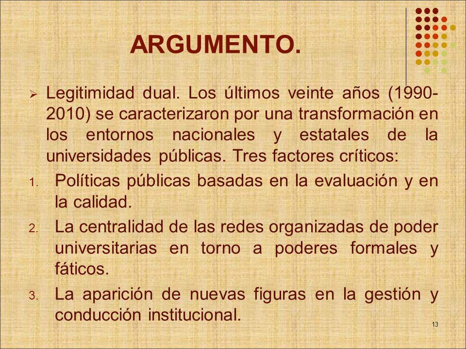 ARGUMENTO. Legitimidad dual. Los últimos veinte años (1990- 2010) se caracterizaron por una transformación en los entornos nacionales y estatales de l