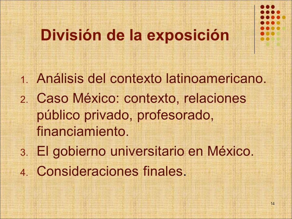 División de la exposición 1. Análisis del contexto latinoamericano. 2. Caso México: contexto, relaciones público privado, profesorado, financiamiento.