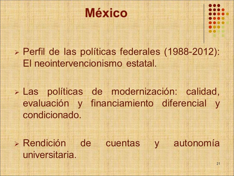 México Perfil de las políticas federales (1988-2012): El neointervencionismo estatal. Las políticas de modernización: calidad, evaluación y financiami