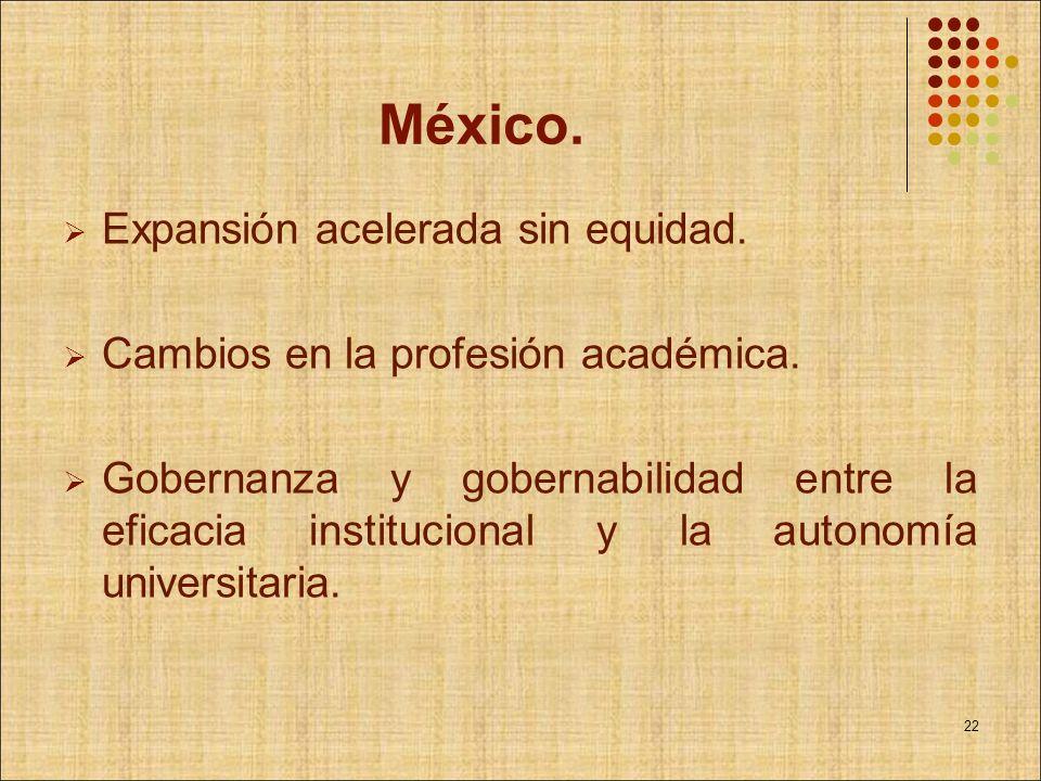 México. Expansión acelerada sin equidad. Cambios en la profesión académica. Gobernanza y gobernabilidad entre la eficacia institucional y la autonomía