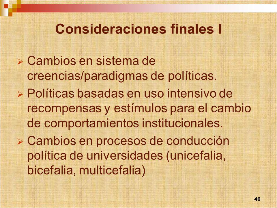 Consideraciones finales I Cambios en sistema de creencias/paradigmas de políticas. Políticas basadas en uso intensivo de recompensas y estímulos para