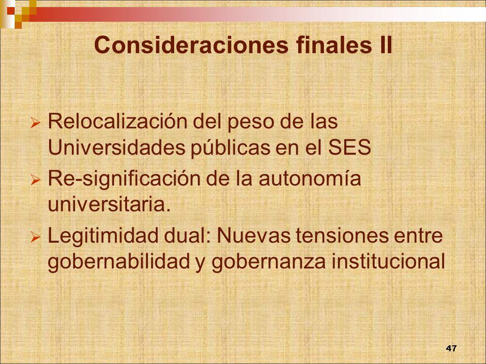 Consideraciones finales II Relocalización del peso de las Universidades públicas en el SES Re-significación de la autonomía universitaria. Legitimidad