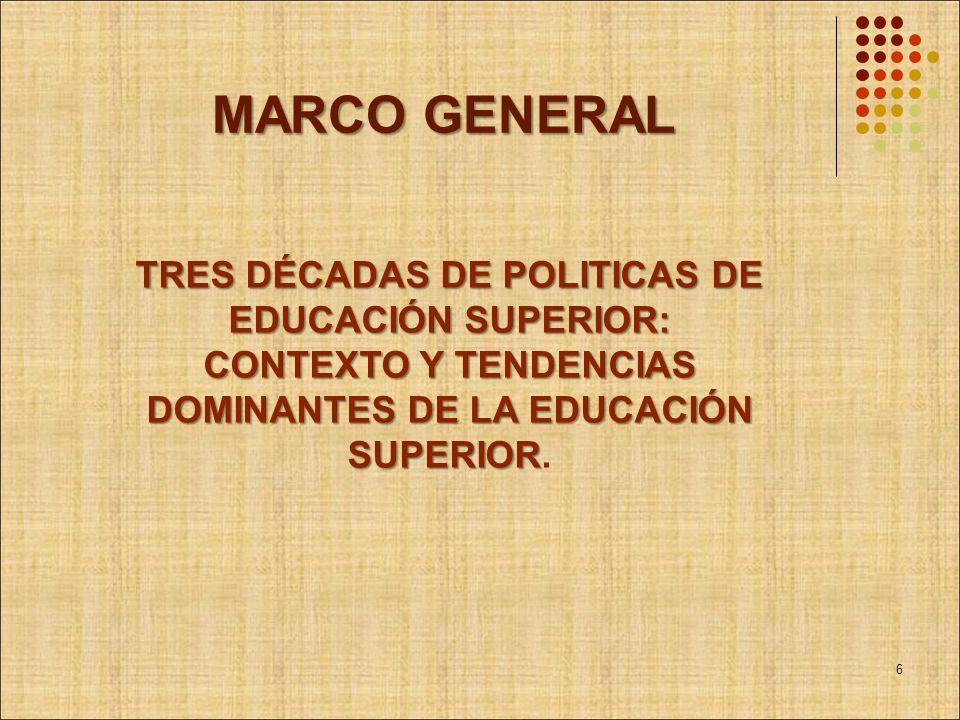 MARCO GENERAL TRES DÉCADAS DE POLITICAS DE EDUCACIÓN SUPERIOR: CONTEXTO Y TENDENCIAS DOMINANTES DE LA EDUCACIÓN SUPERIOR TRES DÉCADAS DE POLITICAS DE