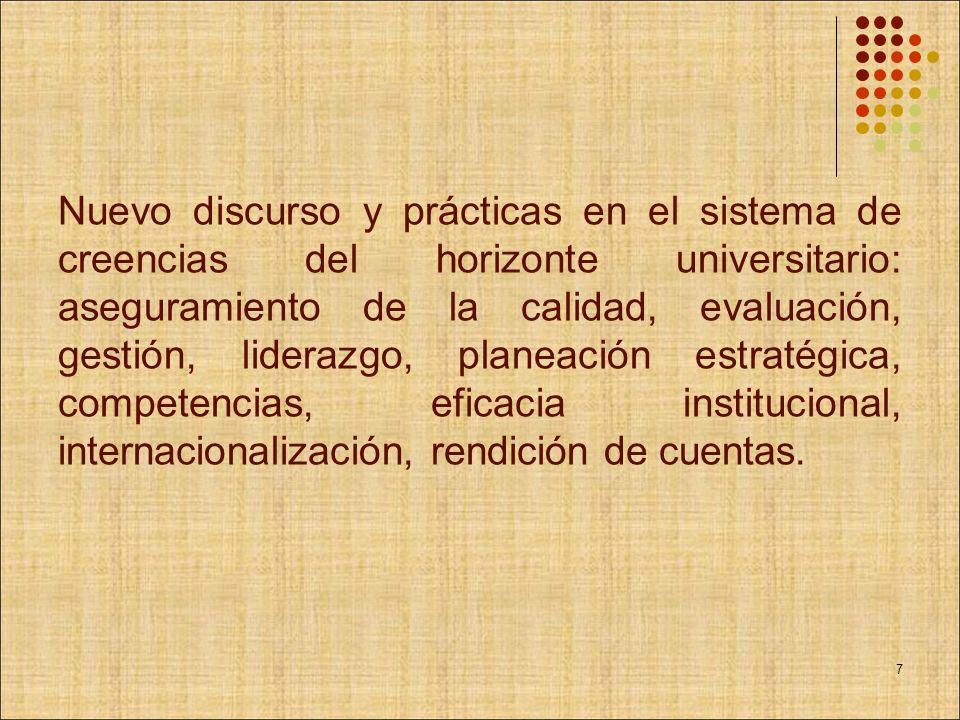 Nuevo discurso y prácticas en el sistema de creencias del horizonte universitario: aseguramiento de la calidad, evaluación, gestión, liderazgo, planea