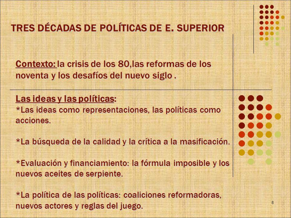 Contexto: la crisis de los 80,las reformas de los noventa y los desafíos del nuevo siglo. Las ideas y las políticas: *Las ideas como representaciones,