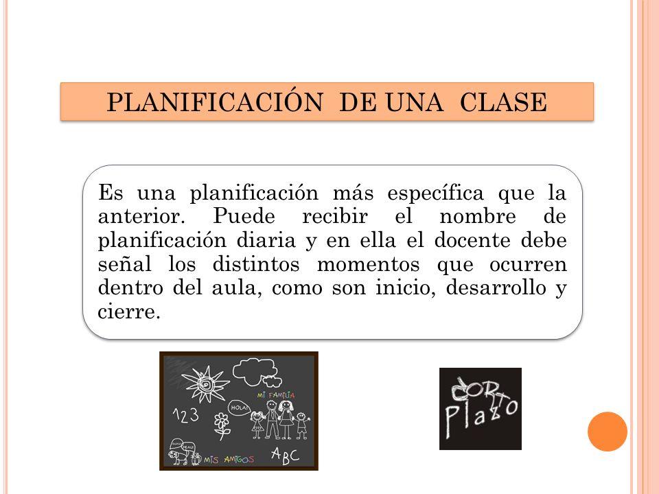 PLANIFICACIÓN DE UNA CLASE Es una planificación más específica que la anterior.