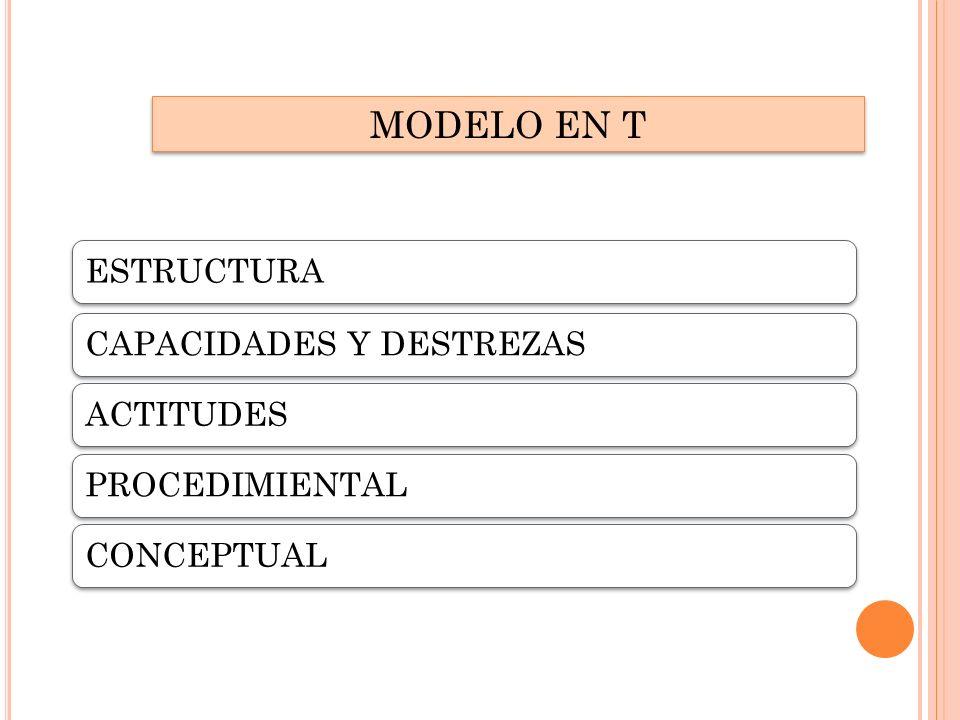 MODELO EN T ESTRUCTURACAPACIDADES Y DESTREZASACTITUDESPROCEDIMIENTALCONCEPTUAL