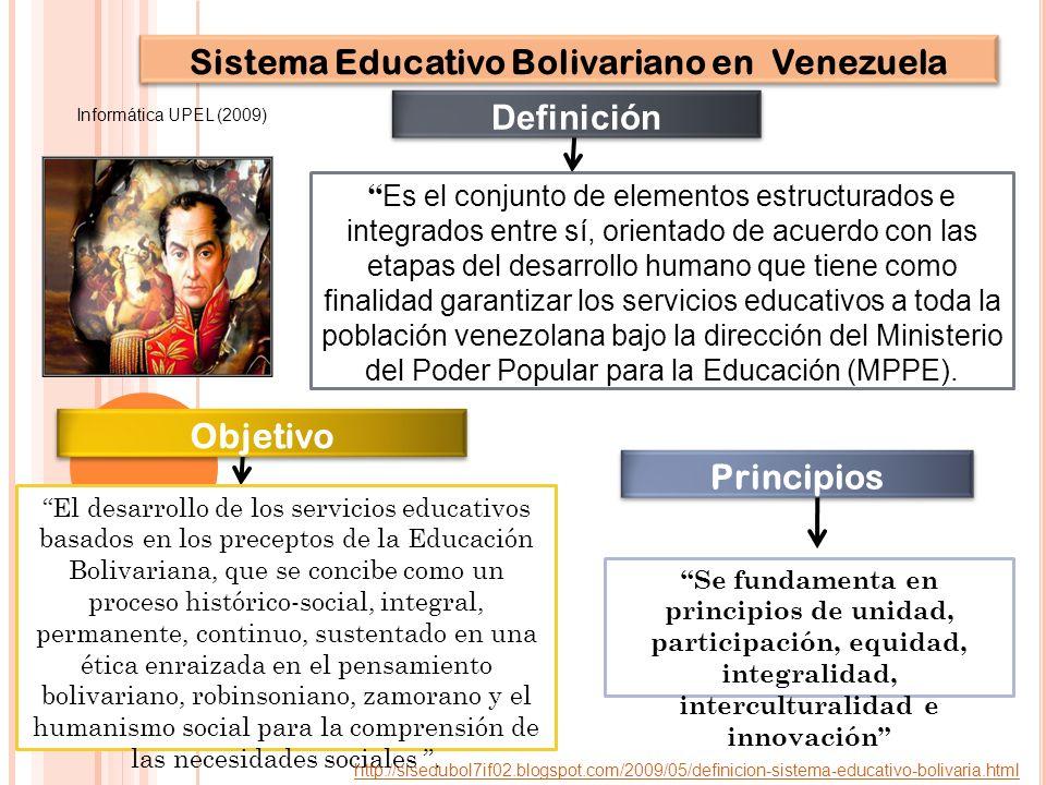 Es el conjunto de elementos estructurados e integrados entre sí, orientado de acuerdo con las etapas del desarrollo humano que tiene como finalidad garantizar los servicios educativos a toda la población venezolana bajo la dirección del Ministerio del Poder Popular para la Educación (MPPE).