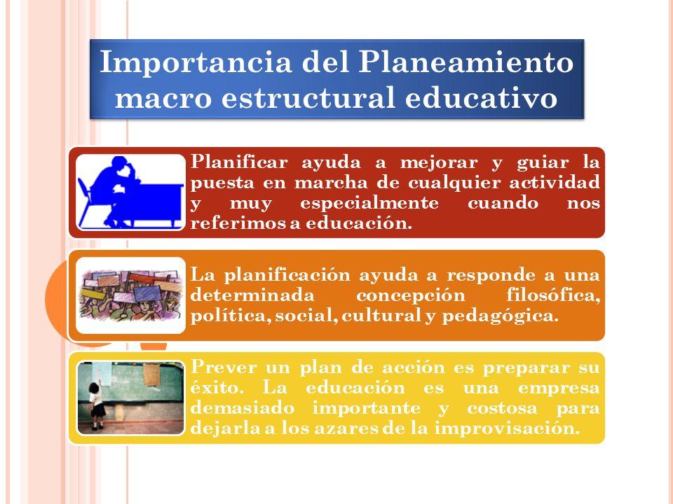 Importancia del Planeamiento macro estructural educativo Planificar ayuda a mejorar y guiar la puesta en marcha de cualquier actividad y muy especialmente cuando nos referimos a educación.