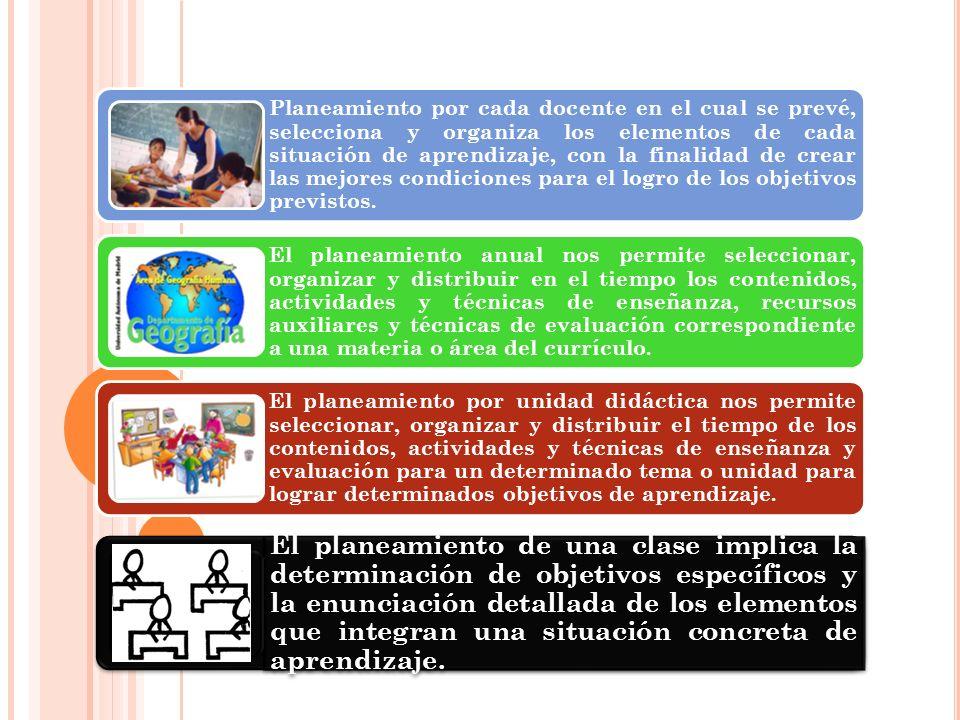 Planeamiento por cada docente en el cual se prevé, selecciona y organiza los elementos de cada situación de aprendizaje, con la finalidad de crear las mejores condiciones para el logro de los objetivos previstos.