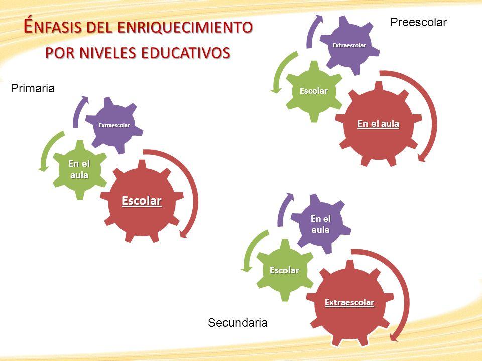 É NFASIS DEL ENRIQUECIMIENTO POR NIVELES EDUCATIVOS En el aula Escolar Extraescolar Preescolar Primaria Secundaria Escolar En el aula Extraescolar Ext