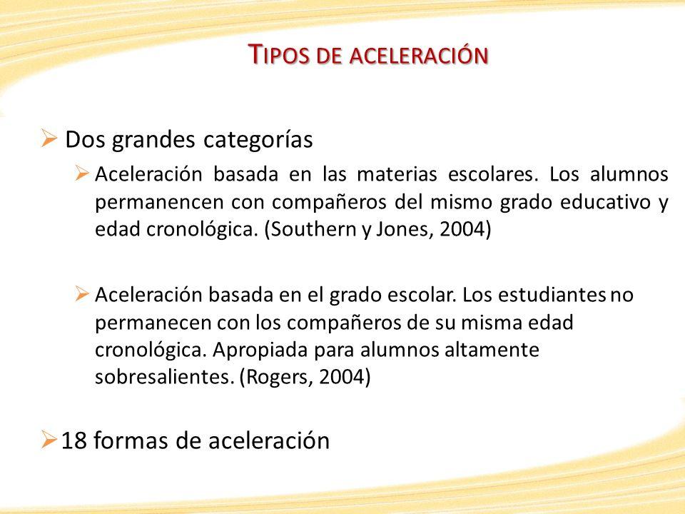 T IPOS DE ACELERACIÓN Dos grandes categorías Aceleración basada en las materias escolares. Los alumnos permanencen con compañeros del mismo grado educ